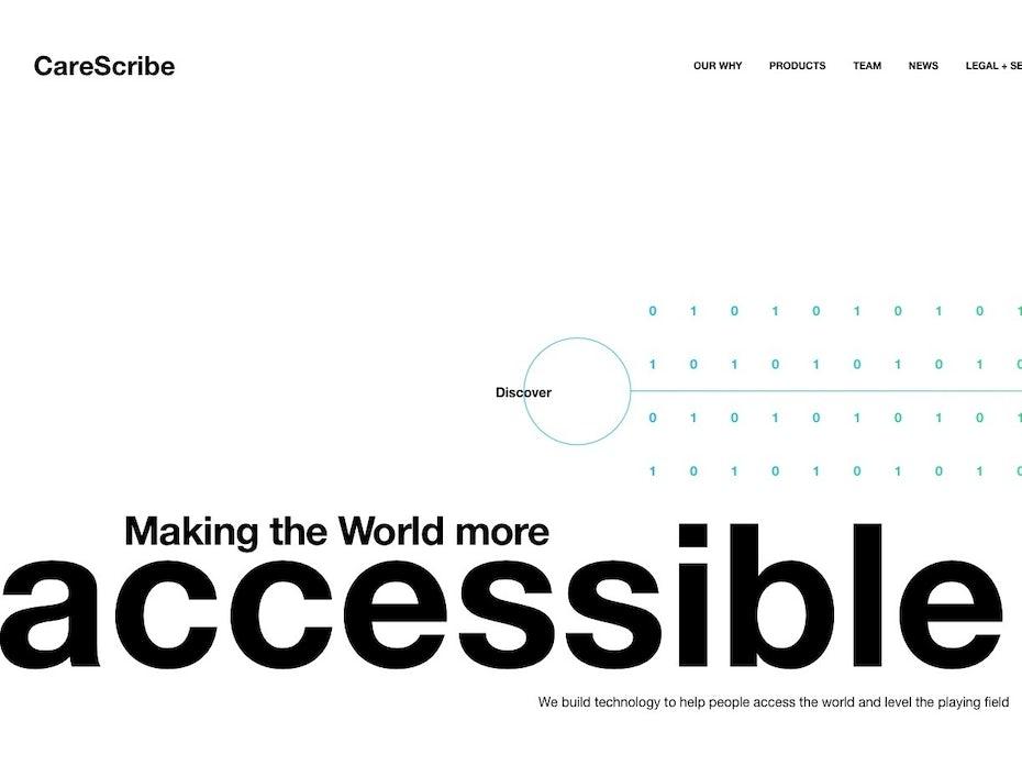 Text heavy tech company website