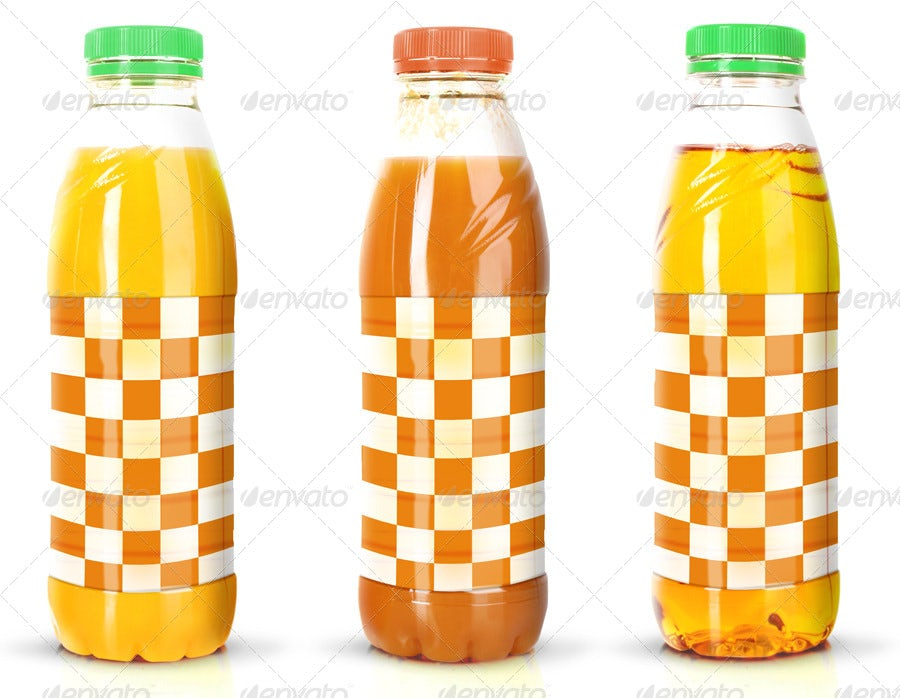 three juice bottles side by side, each with a different fruit design on the label