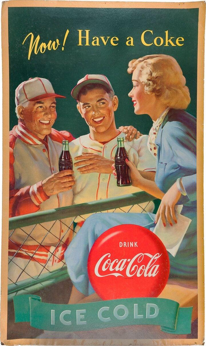 Vintage baseball Coca Cola ad