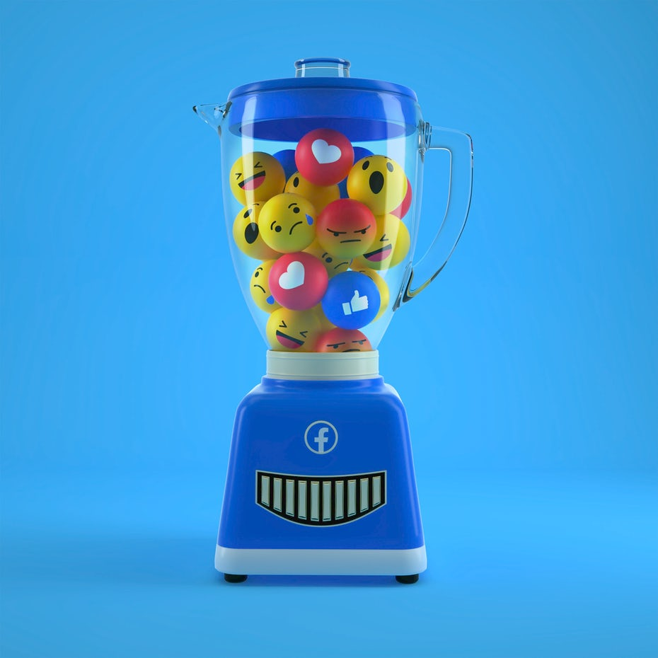 3D design of facebook emojis in a blender