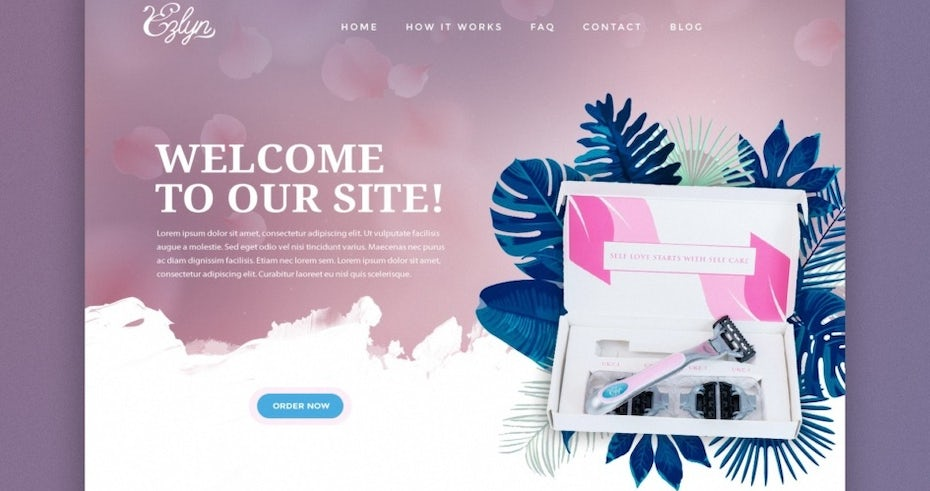 razor website in soft purple, white blue and pink