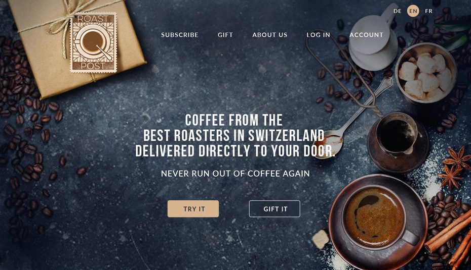 coffee website in shades of brown