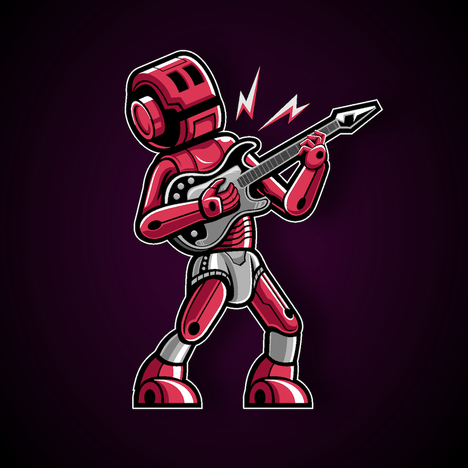Logo design of a robot guitar player character