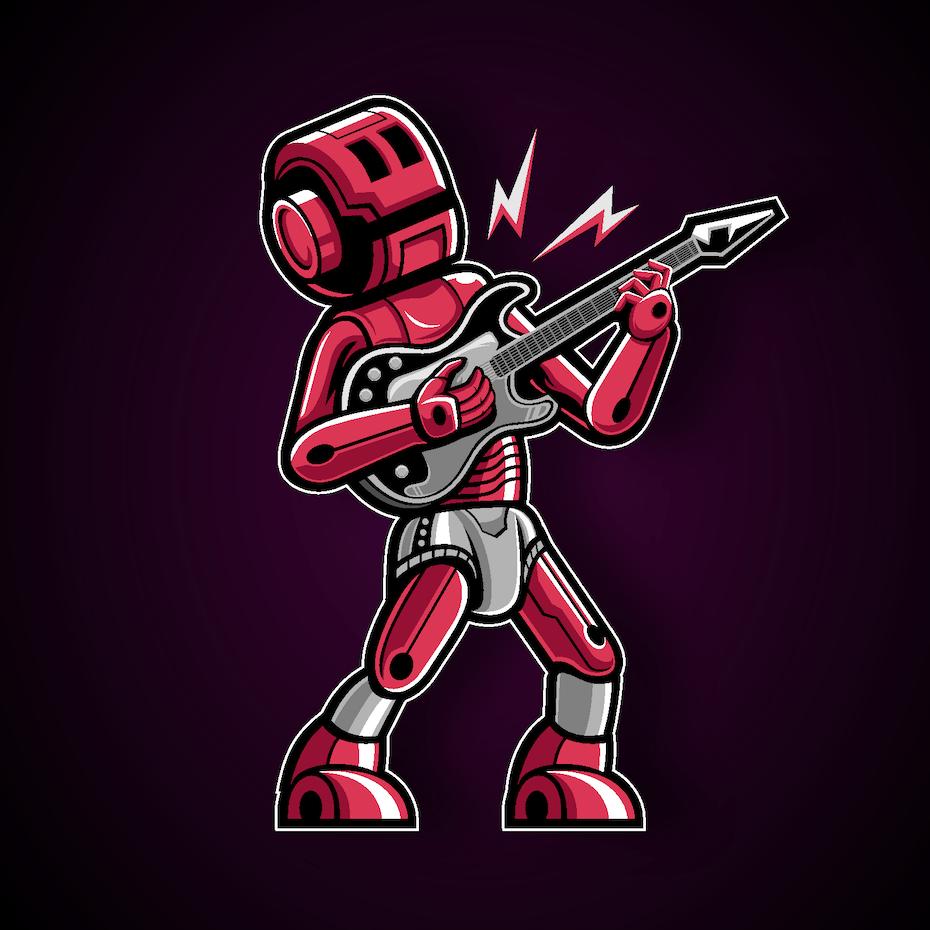 Logo design of a robot guitar player character