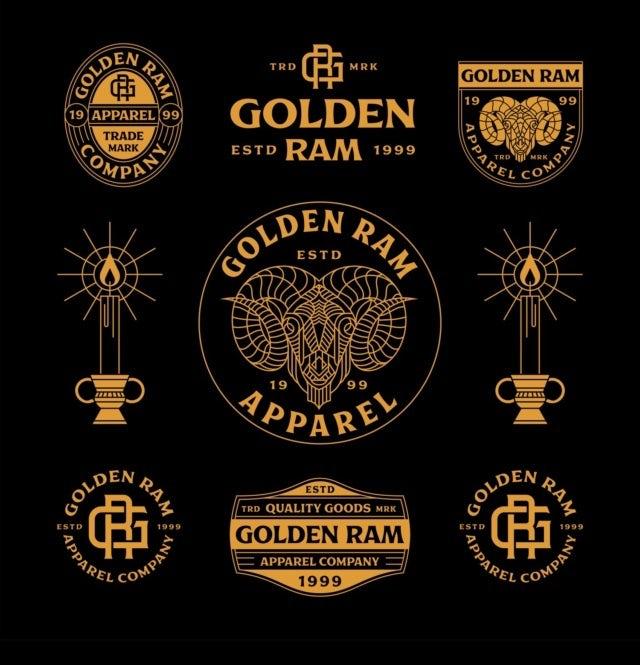 Golden ram logo design in black and gold