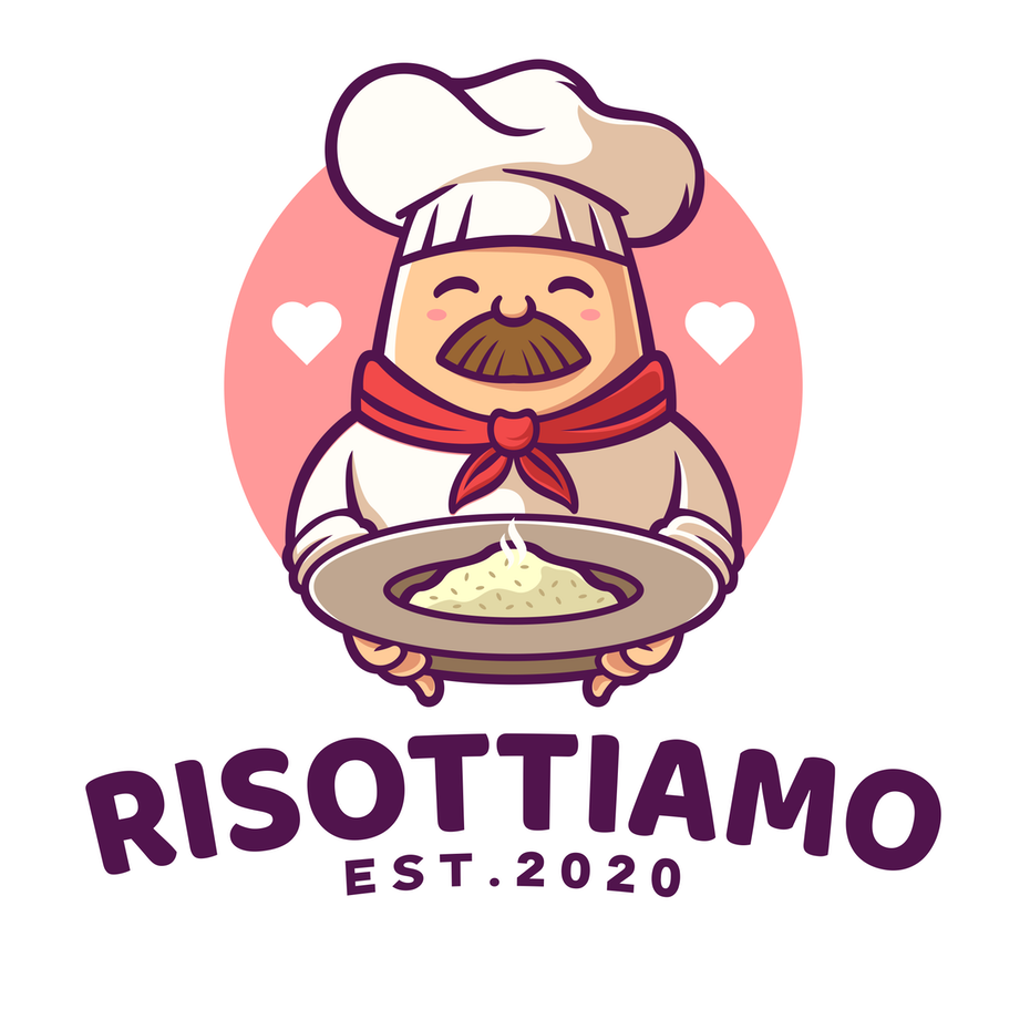 Logo design with a cartoon chef character