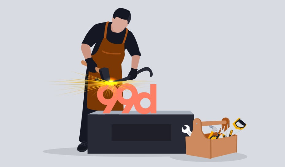 Illustration of a blacksmith character forging a logo