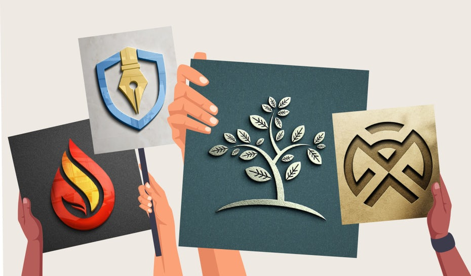 Four hands holding up logo designs
