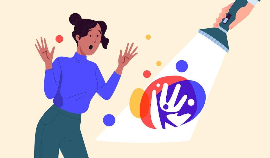 Illustration d'une femme surprise lorsqu'on dévoile son logo