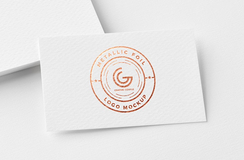 business card with logo imprint in bronze metallic foil