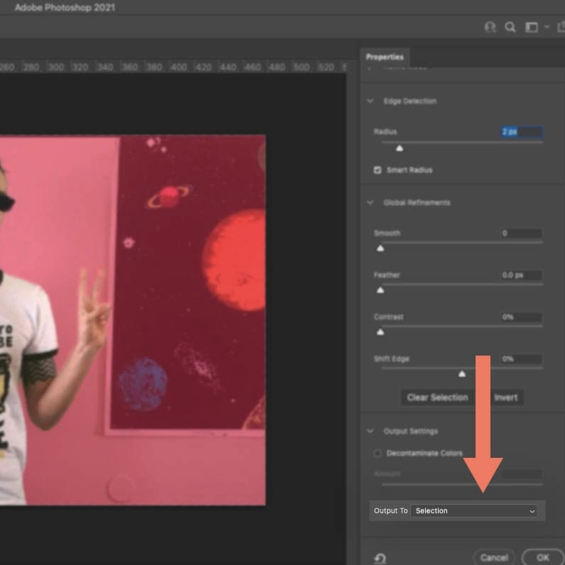 Screenshot of Photoshop showing how to mask an image