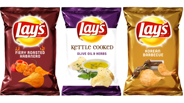 three flavors of Lay's potato chips beside each other