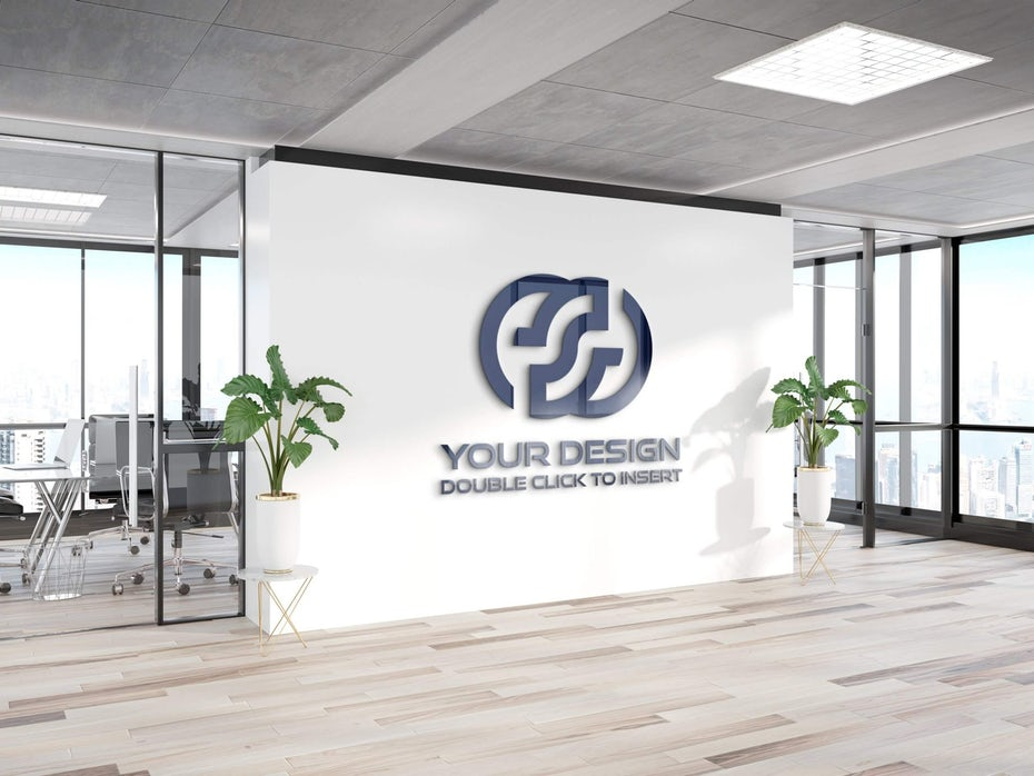 rendering of a white office wall with a shiny black logo on it