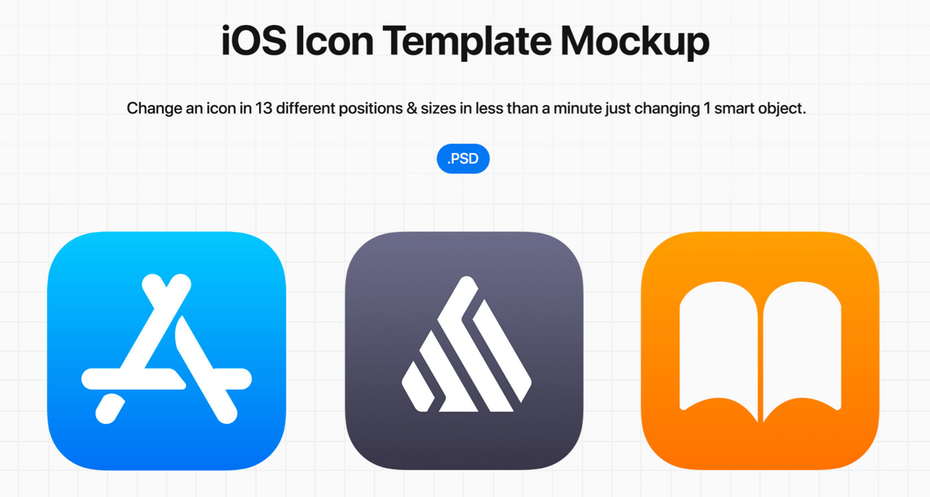 Mockup showing different iOS icon options