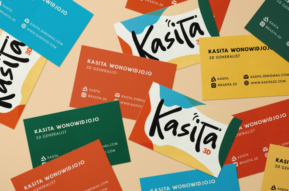 colorful brand identity with business cards, stationery and a logo