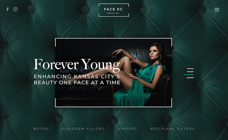 spa website design in jewel tones