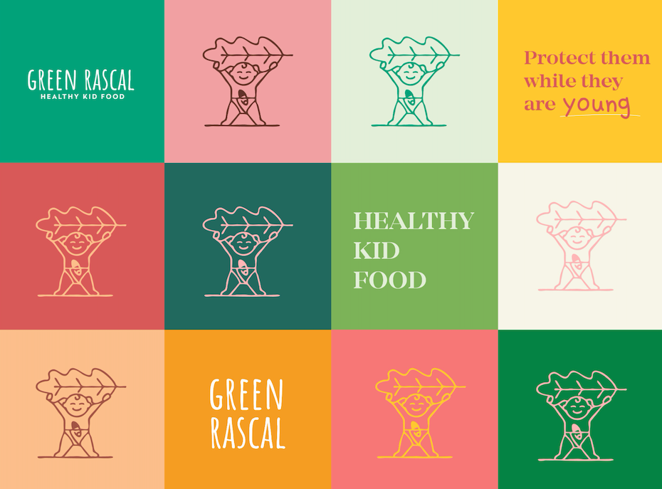 logo and brand identity in green and pink