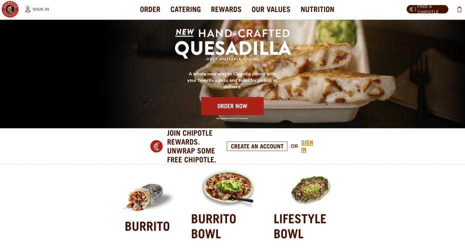 Chipotle homepage, burritos, bowls and quesadillas