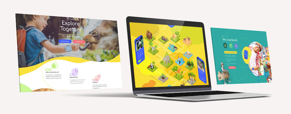 Three screens for a landing page for kids outdoor activities