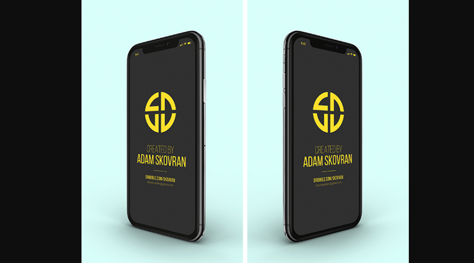 yellow geometric icon mockup shown at 9 different angles on an iPhone