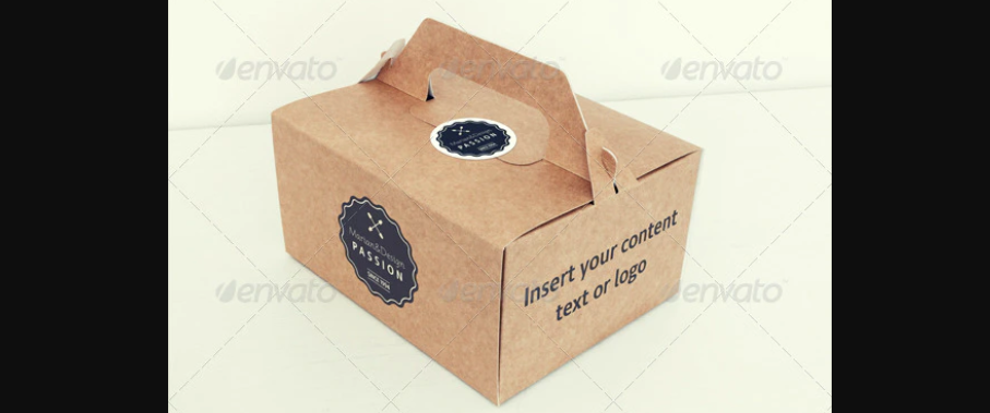 mockups of a folded paper takeout container, business card and coffee cup