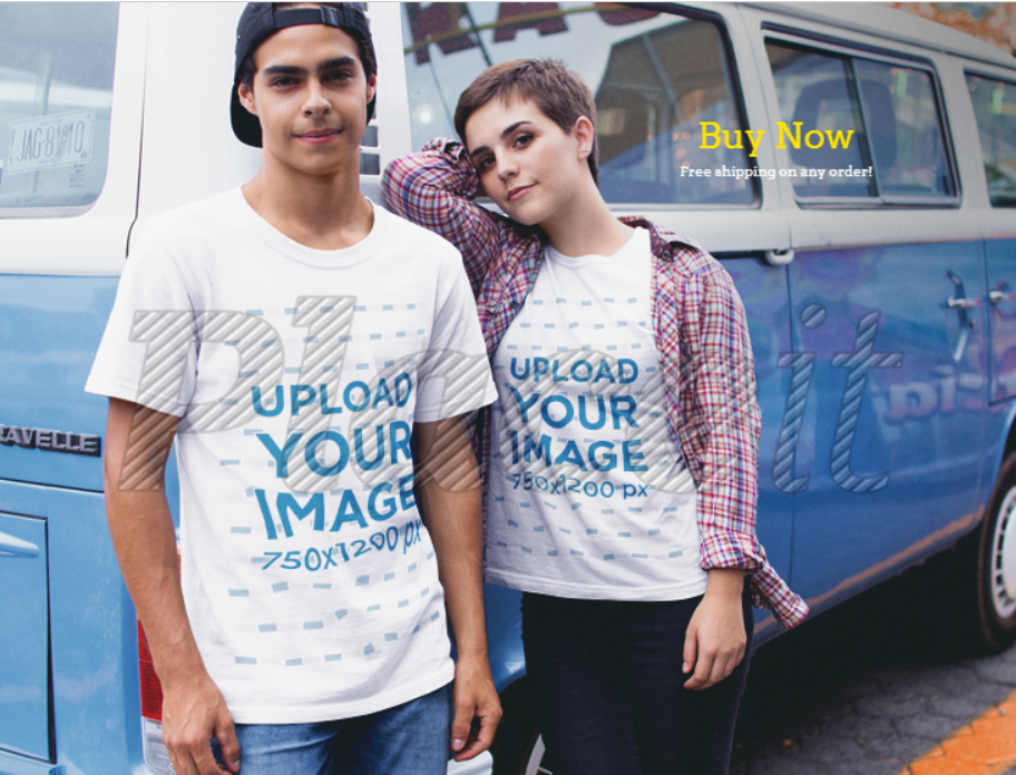 man and woman, both wearing t-shirts, leaning against a van
