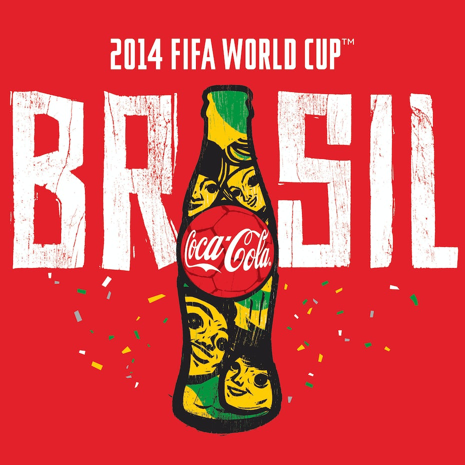 ad showing the World Cup Coca Cola bottle and the word BRASIL