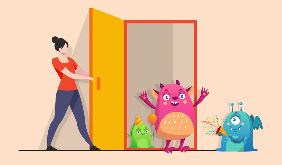 Illustration of a person opening the door to various character designs