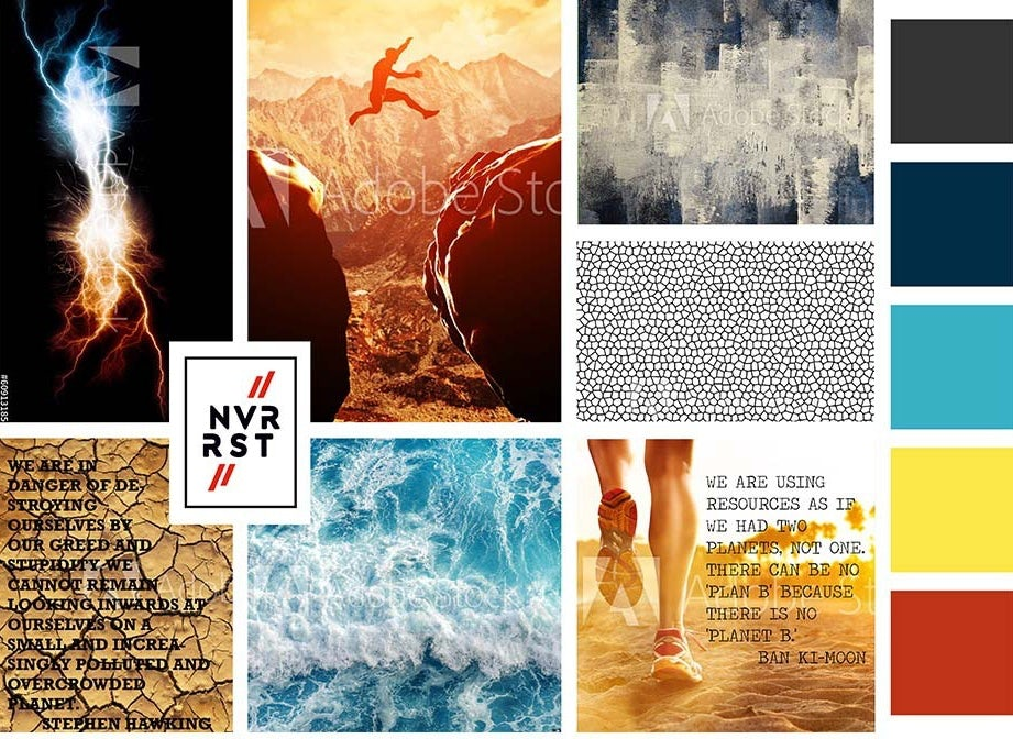 bold mood board showing quotes, landscapes, textures and colors