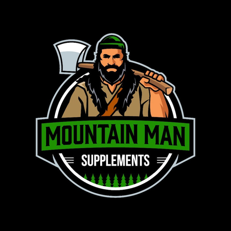 Logo design of a mountain man for a supplements brand
