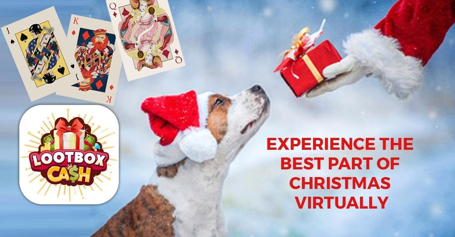 Facebook ad showing Santa giving a dog a gift