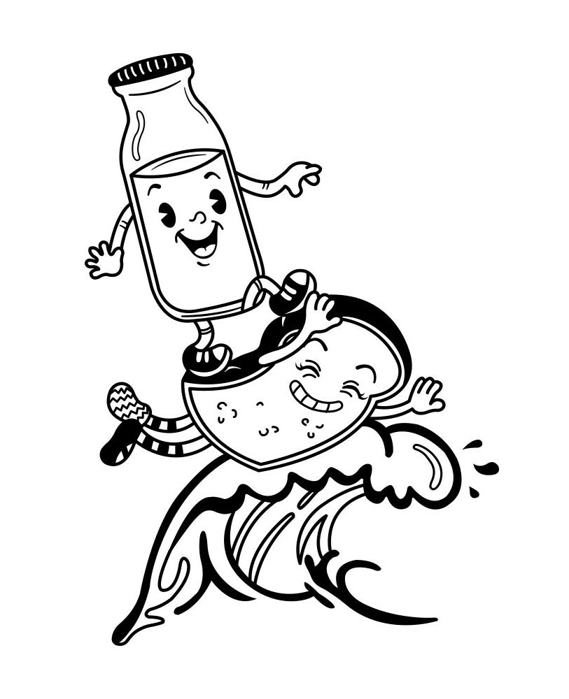 Character design of Milk and Toast friends in 1930s style
