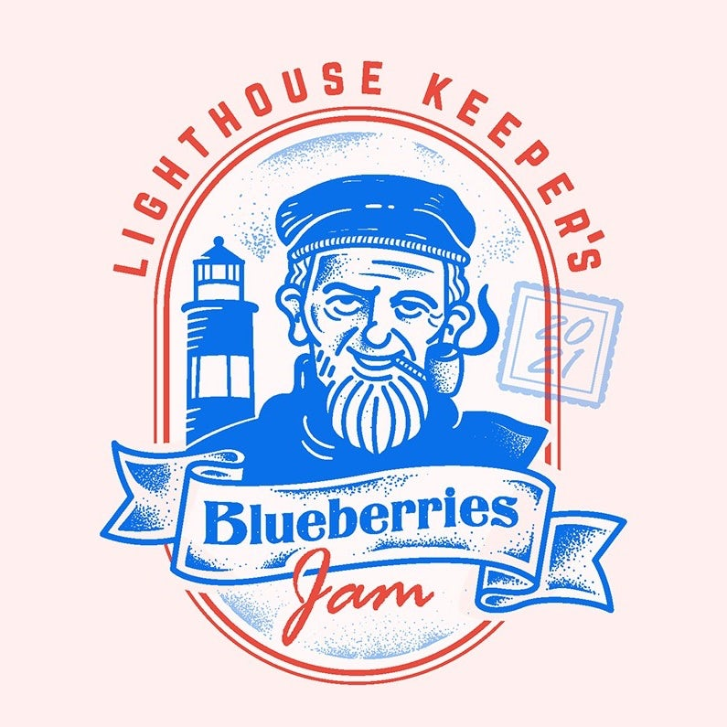 Logo design with a lighthouse keeper character