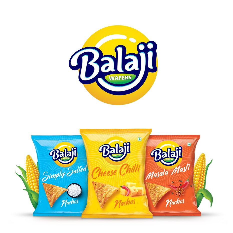 Balaji chips logo and packaging design