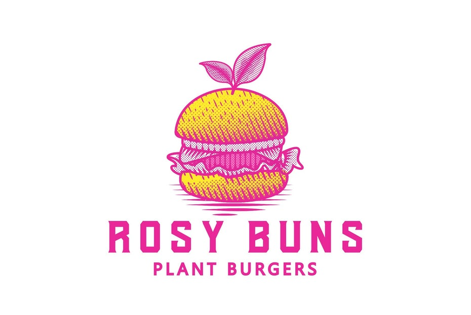 Repeating Pop Art burger logo pattern