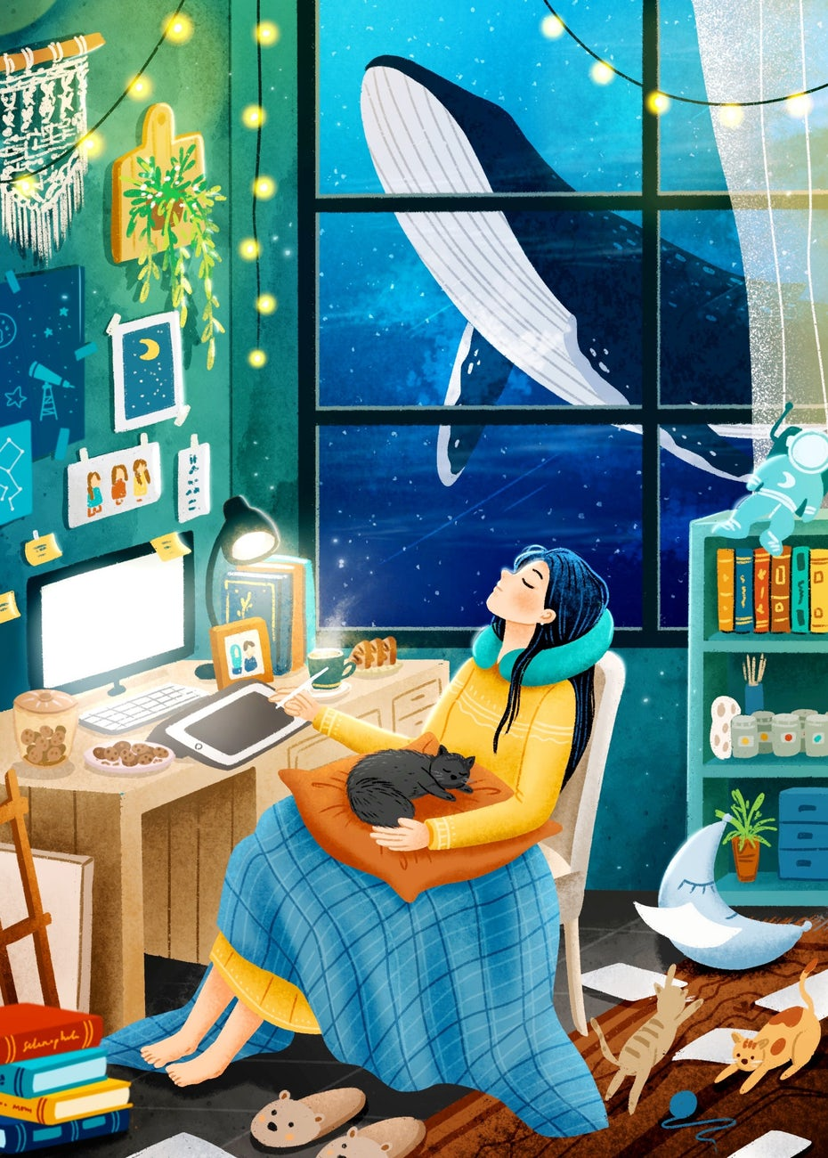 illustration of a woman sitting at a desk, drawing on a tablet while surrounded by objects, cats and a whale through the window