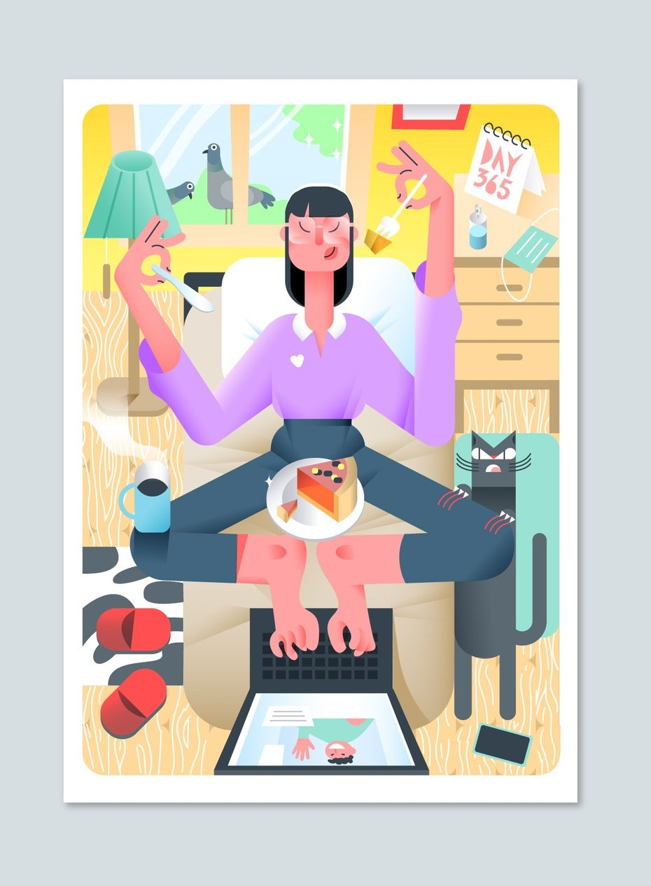semi-flat illustration of a woman sitting at a laptop, typing with her toes while eating pie and fending off a cat
