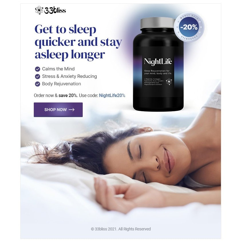 email ad showing a woman sleeping and a container of a supplement