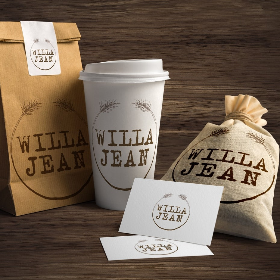 round brown logo on a coffee bean bag, cup and business cards