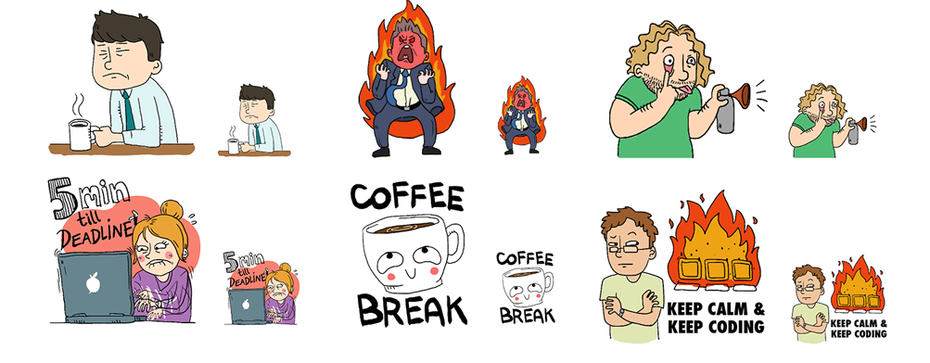 Various emoji sticker designs
