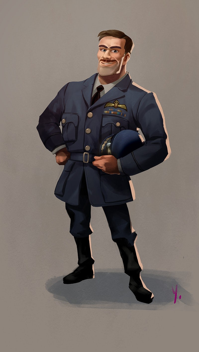 Vintage pilot character design illustration