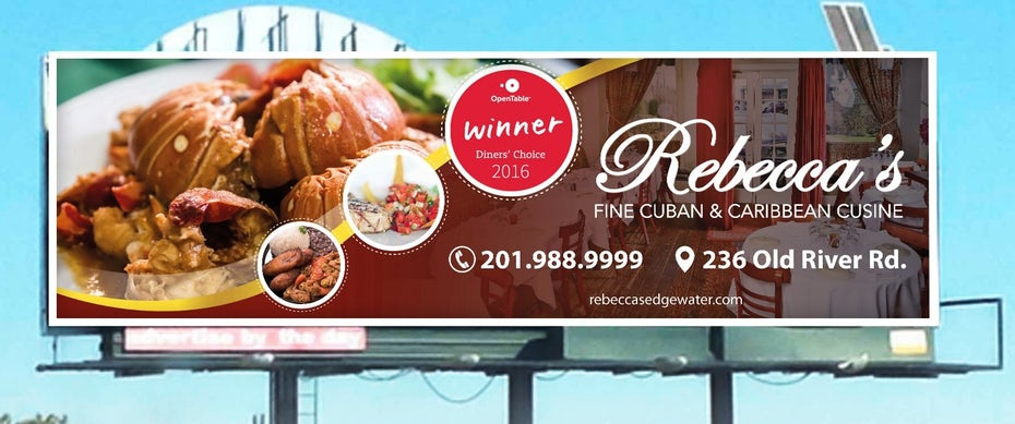 billboard ad showing a plate of lobster and rice and white text