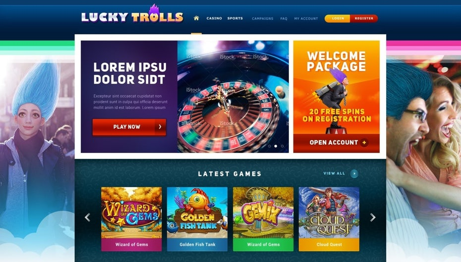 colorful gaming website showing people with troll hair