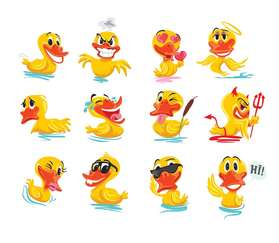 Duck emoji designs with various expressions