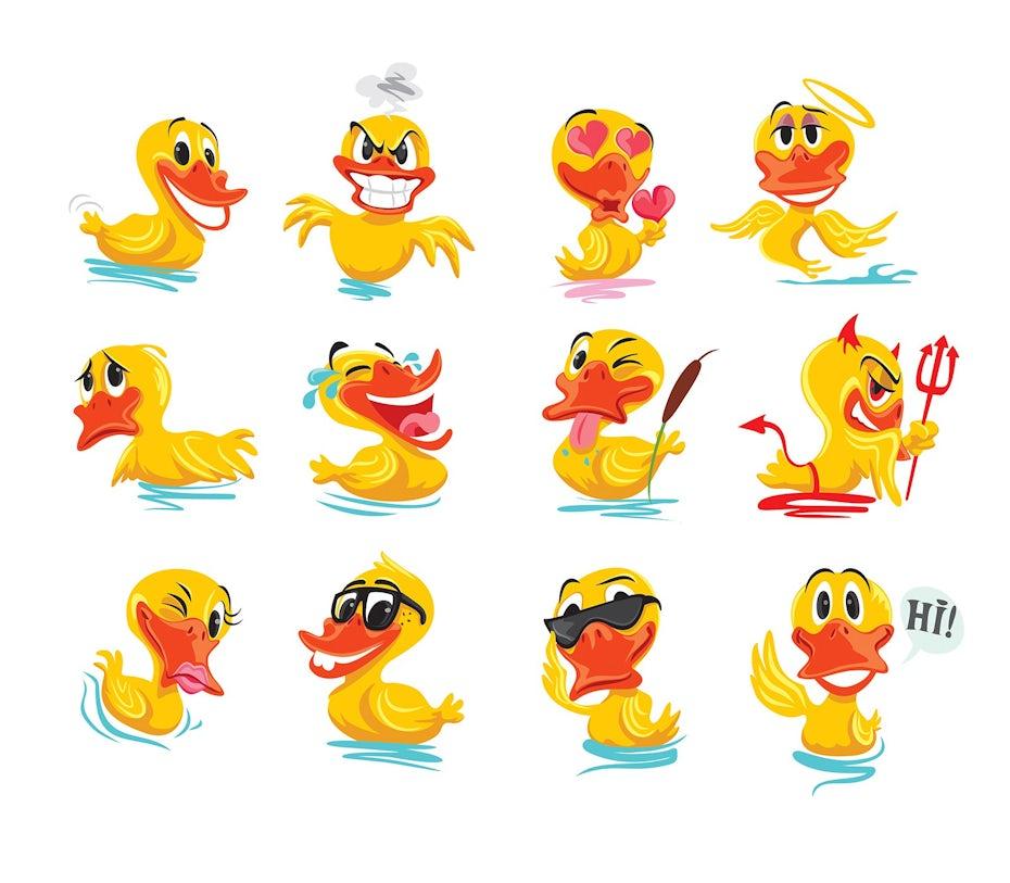 鸭子的表情设计,有多种表情