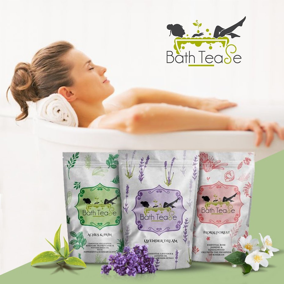 woman relaxing in a bathtub juxtaposed above pouches of bath salts