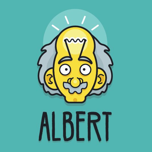 Logo design of Albert Einstein with a lightbulb idea