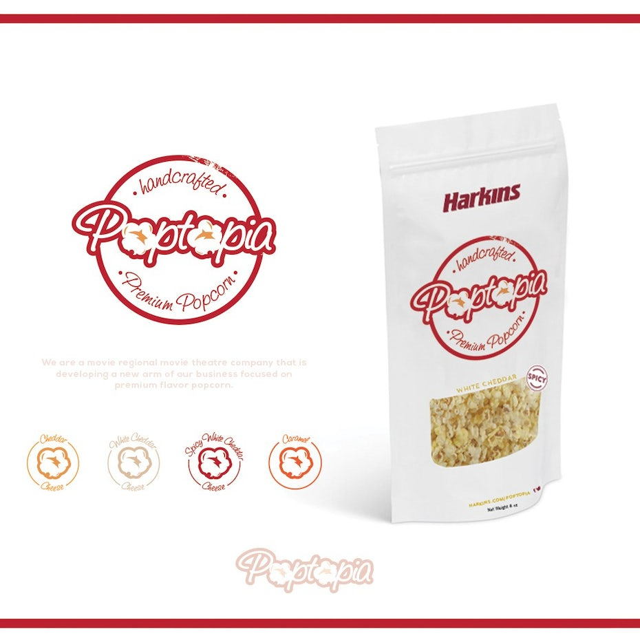 Poppin' popcorn logo and packaging design