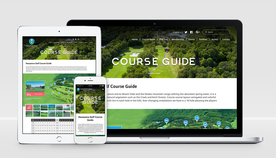 responsive web design for golf course booking