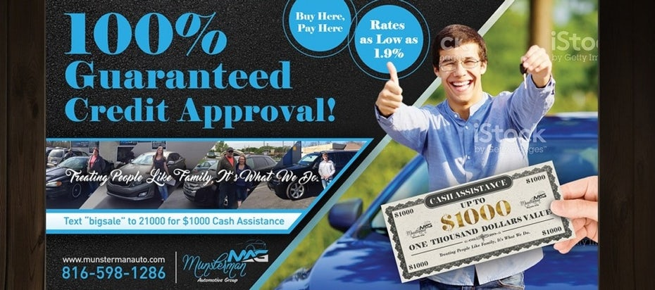 flyer showing a man holding keys and a thumbs up, a gift certificate and people leaning on cars